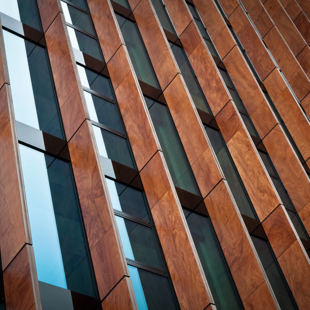 Abstract Modern Glass and Wood Building architecture