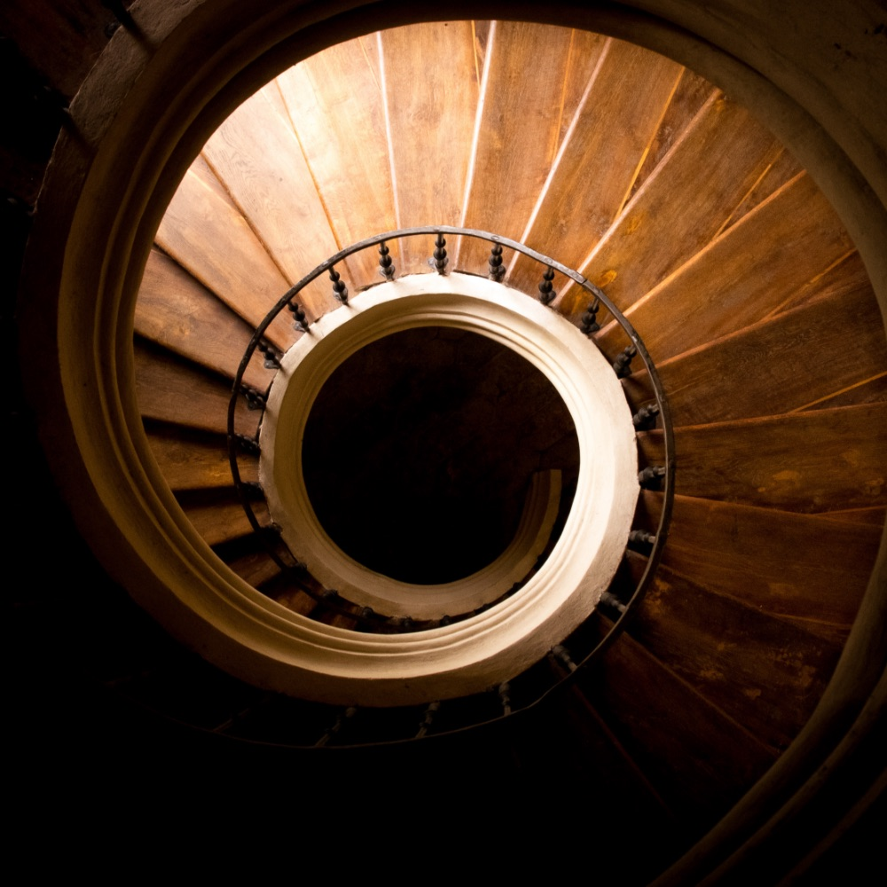 Spiraled staircase in catherdal