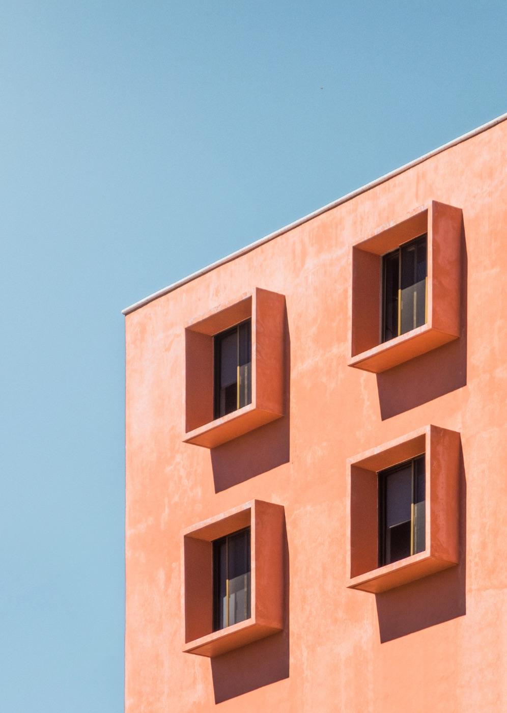 abstract light pink block of flats
