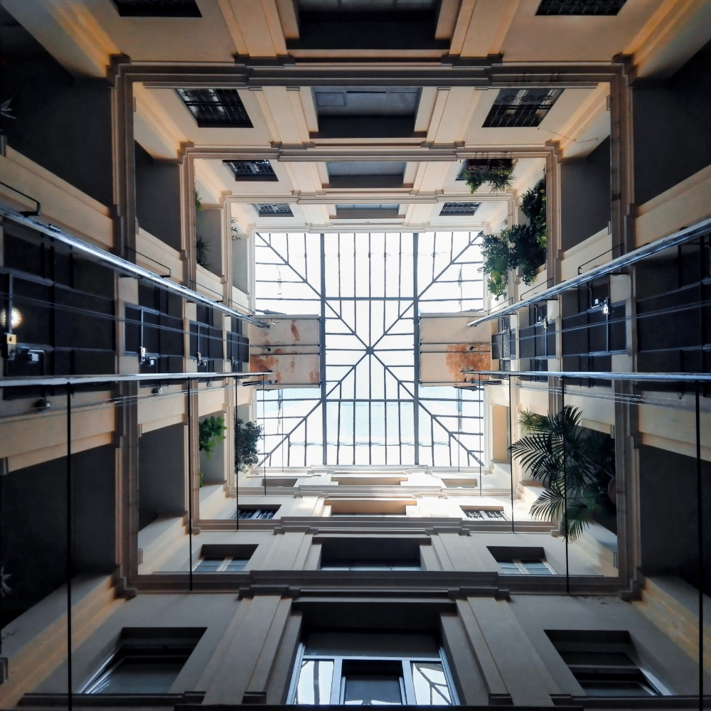 Isometric square bottom view inside a building Geometry and precision