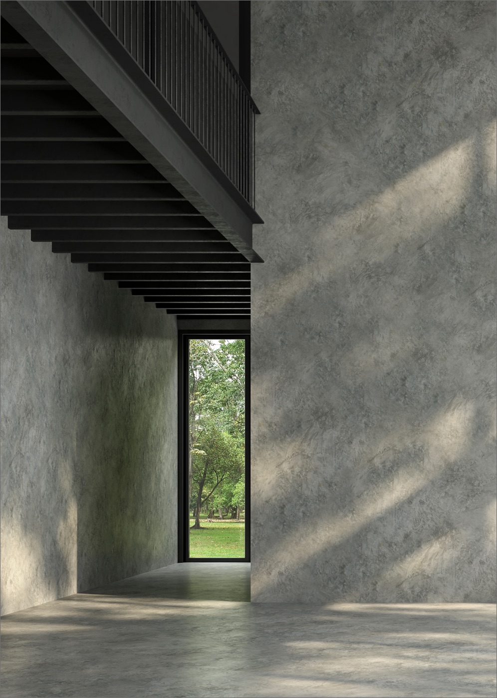 Modern minimalist design interior with concrete walls and tall glasses