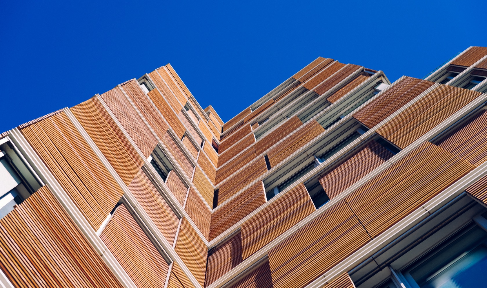 View from the floor of the facade of a modern building