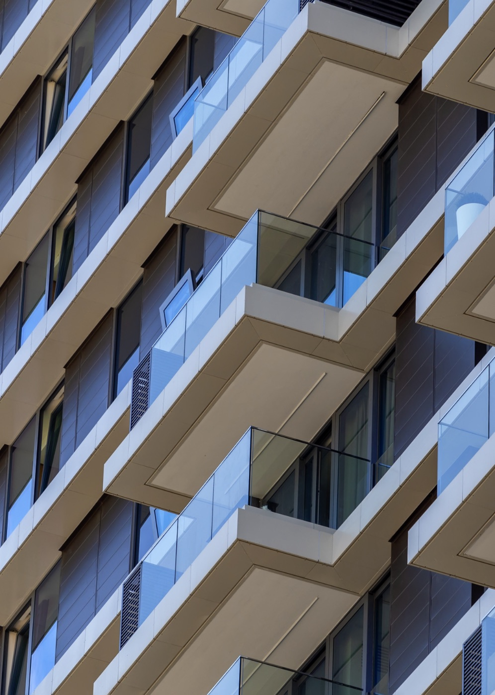 Modern block of flats with glass balconies