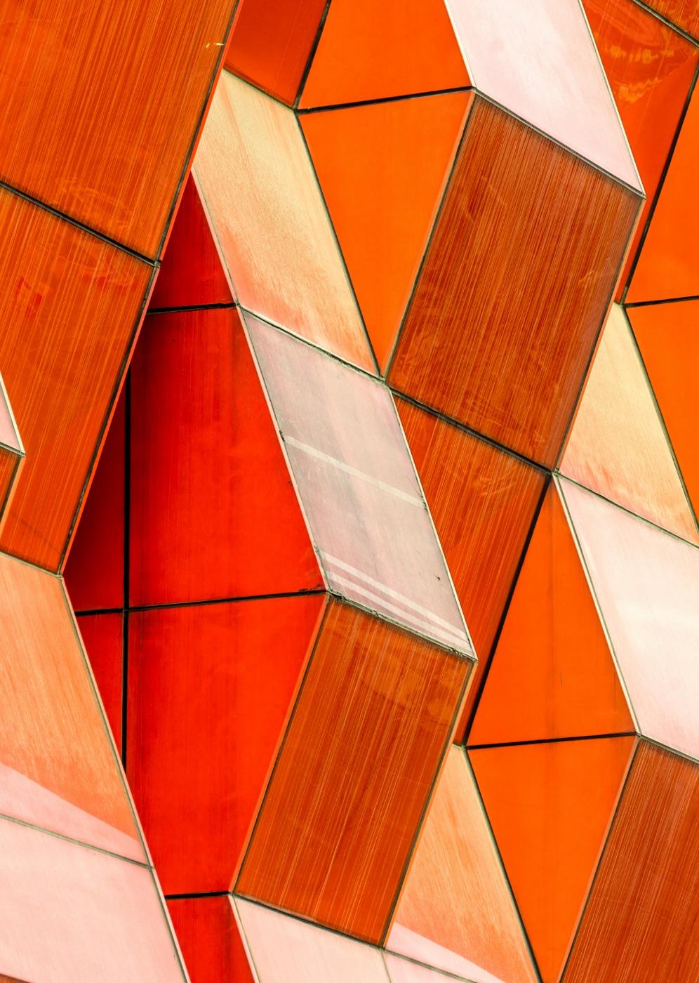 Modern orange architecture facade of the building