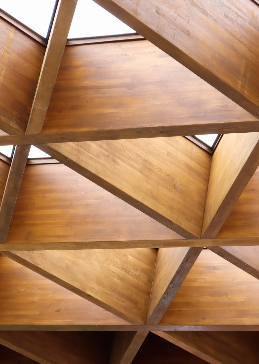 Modern wooden architecture structure with light coming through
