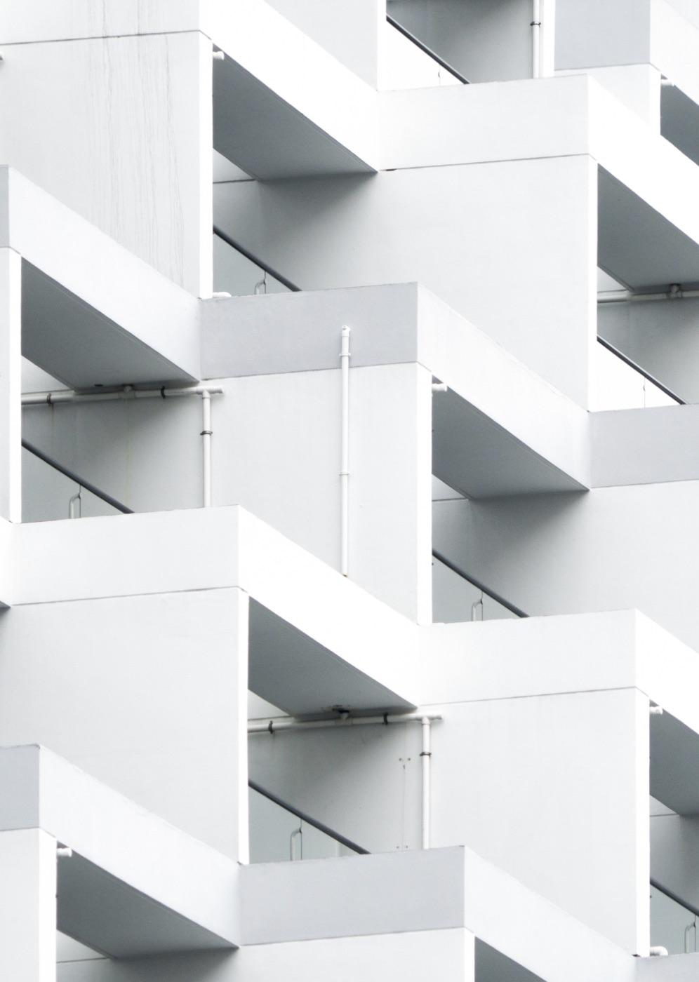 Modern architecture facade in white
