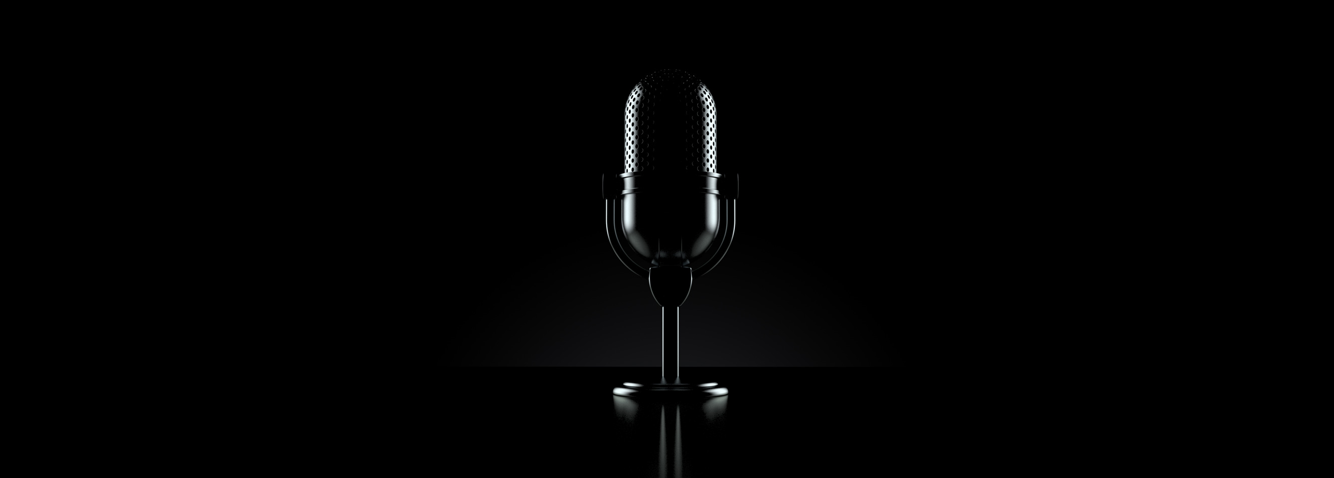 Microphone picture in a dark setup with high resolution reflections