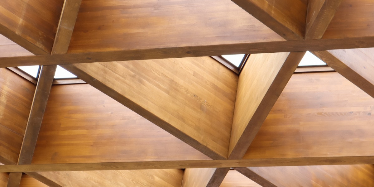Abstract architecture, wood materials, triangle shape, modern