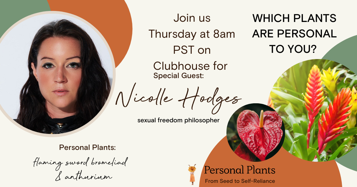 Sexual freedom philosopher Nicolle Hodge's Personal Plants are Flaming Sword Bromeliad and Anthurium