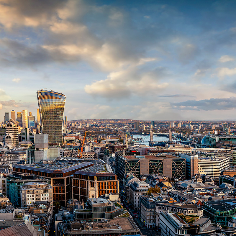 The skyline of London in day time
