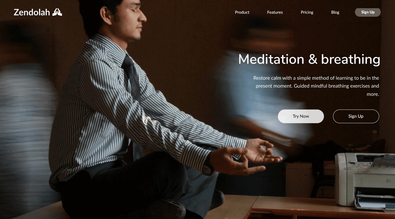 Web design for mediatation website homepage