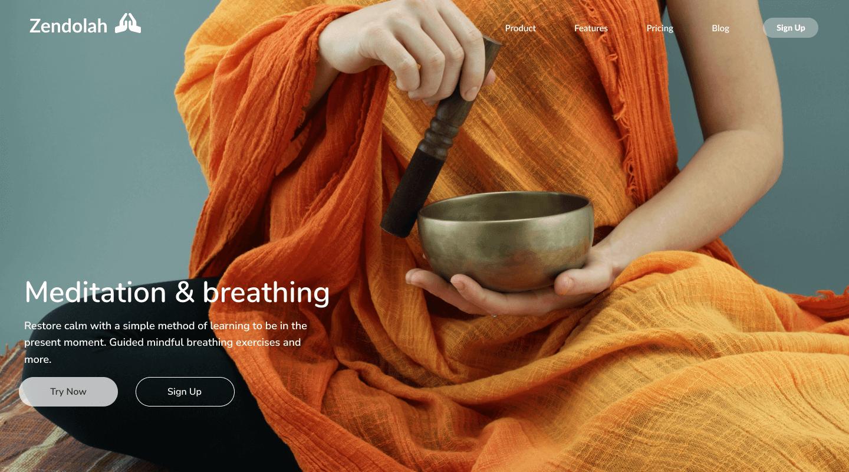 Web design for meditation website homepage