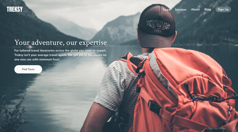 Web design for travel website homepage