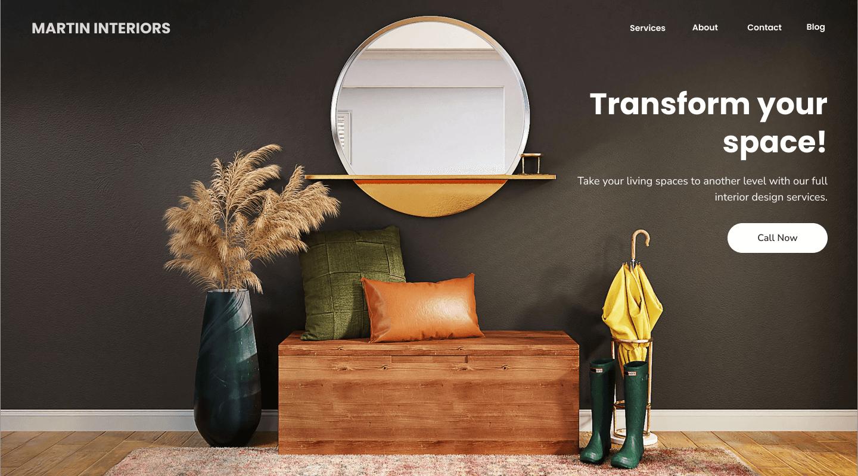 Web design for interior design company home page