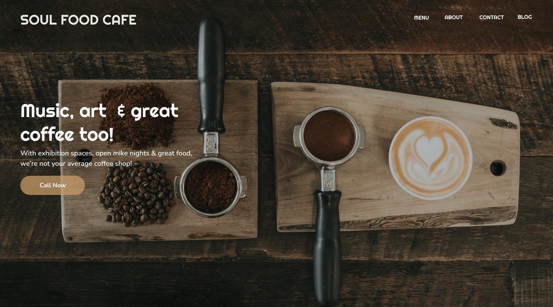 Web design for cafe homepage