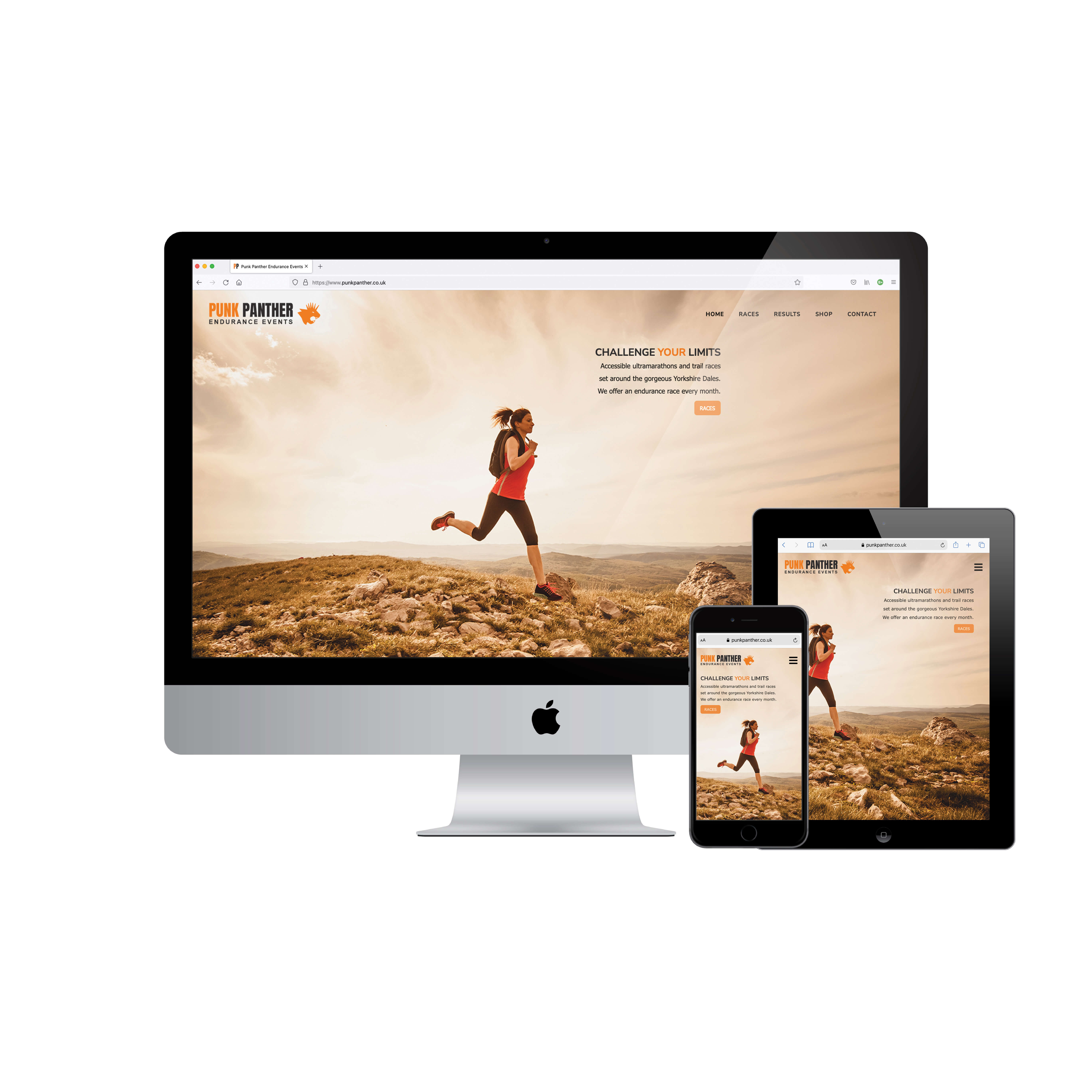 Mockup of home screens for featured website on desktop, tablet and mobile
