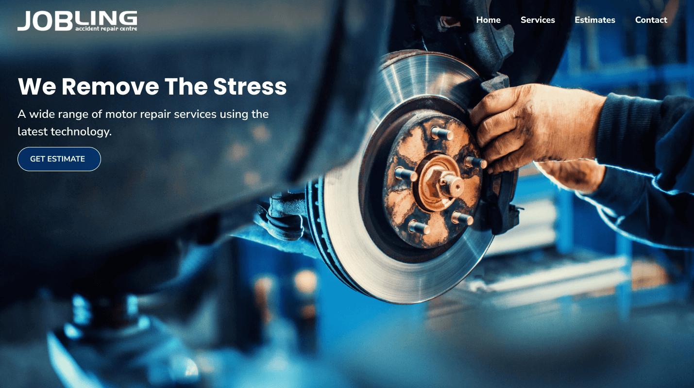 Web design for Auto Repair Centre homepage