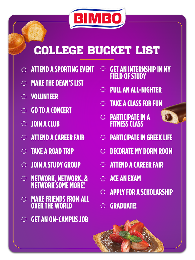 Bimbo®College Bucket List   Right Click or Hold Down Finger on Image to Download
