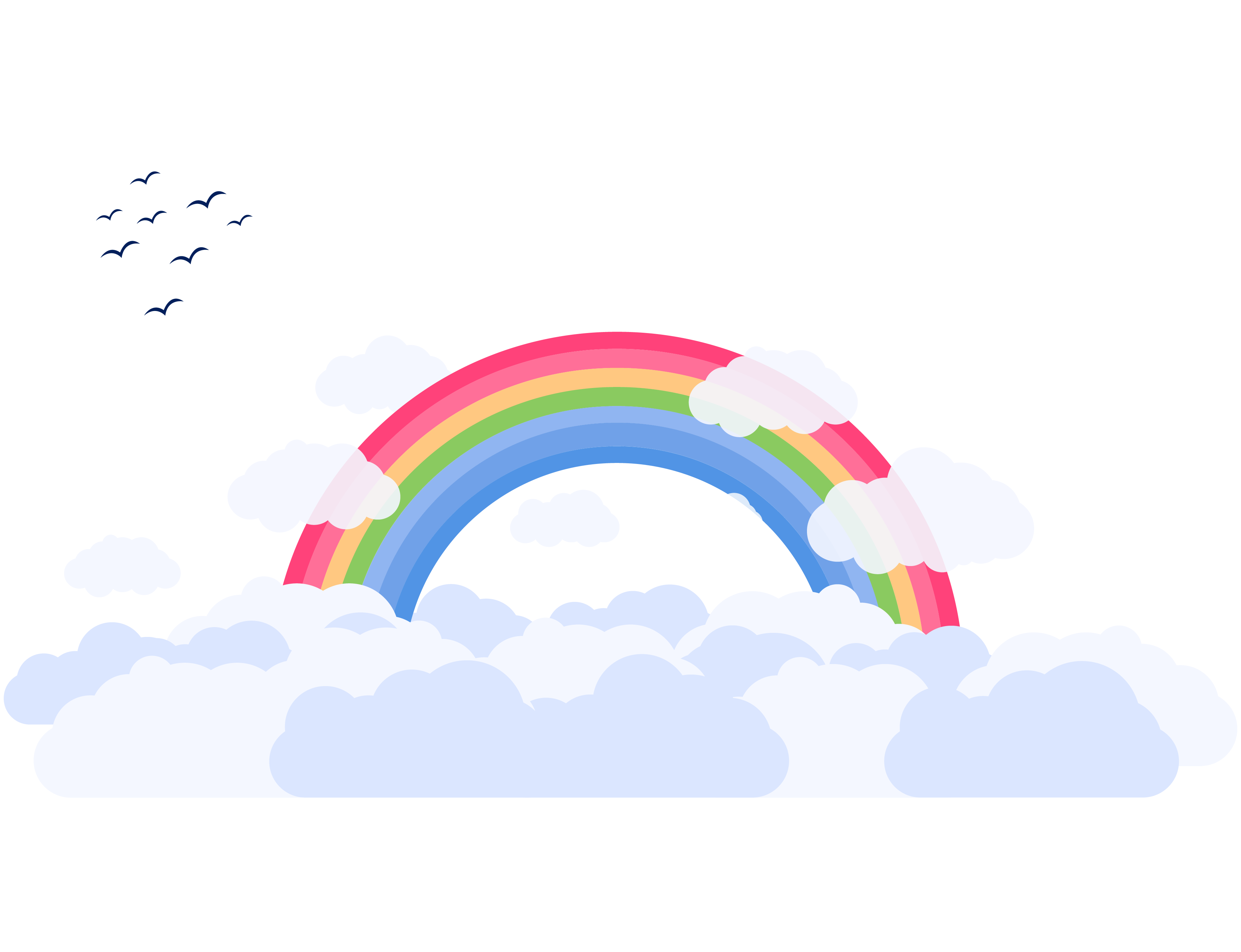 clouds and rainbow illustration.