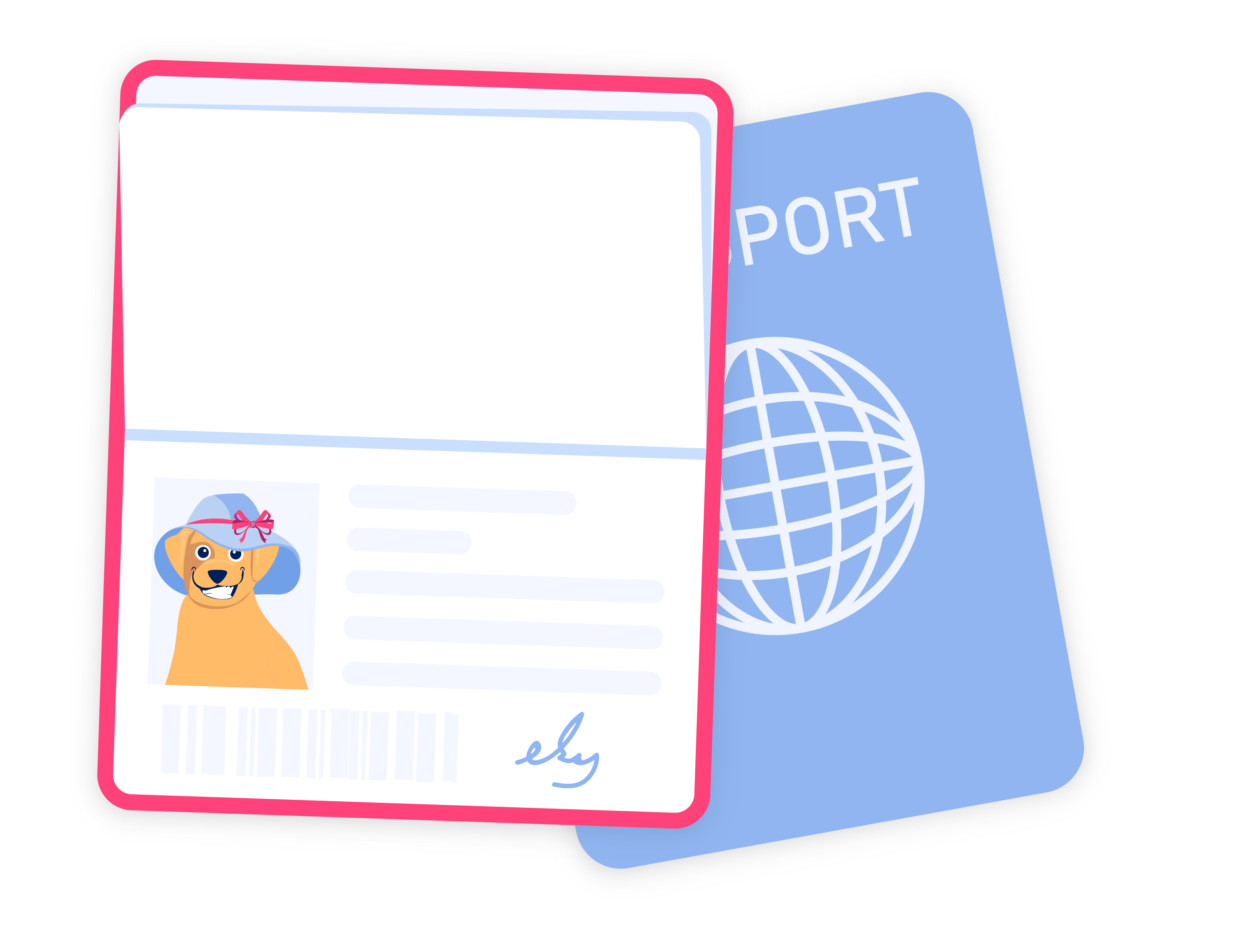 Dog passport illustration.