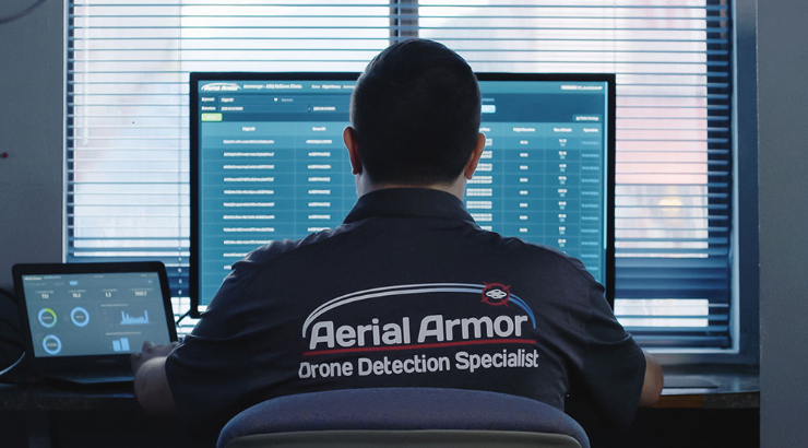 aerial armor staff using drone detection software