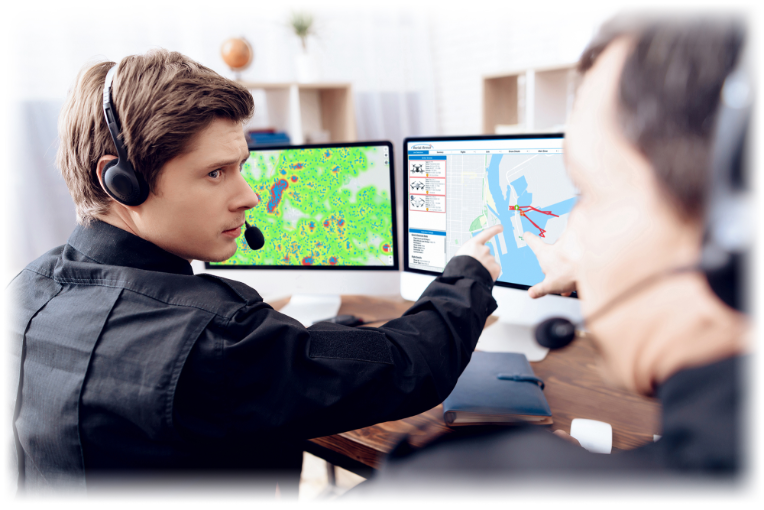 employee pointing at drone aerial armor uav detection software