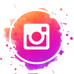 Instagram Icon on Watercolor Background