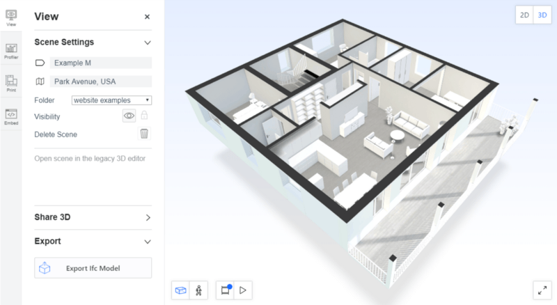 Image of 3D floor plan and export button