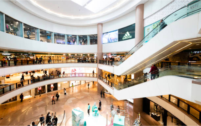 Inside a large multistory shopping centre
