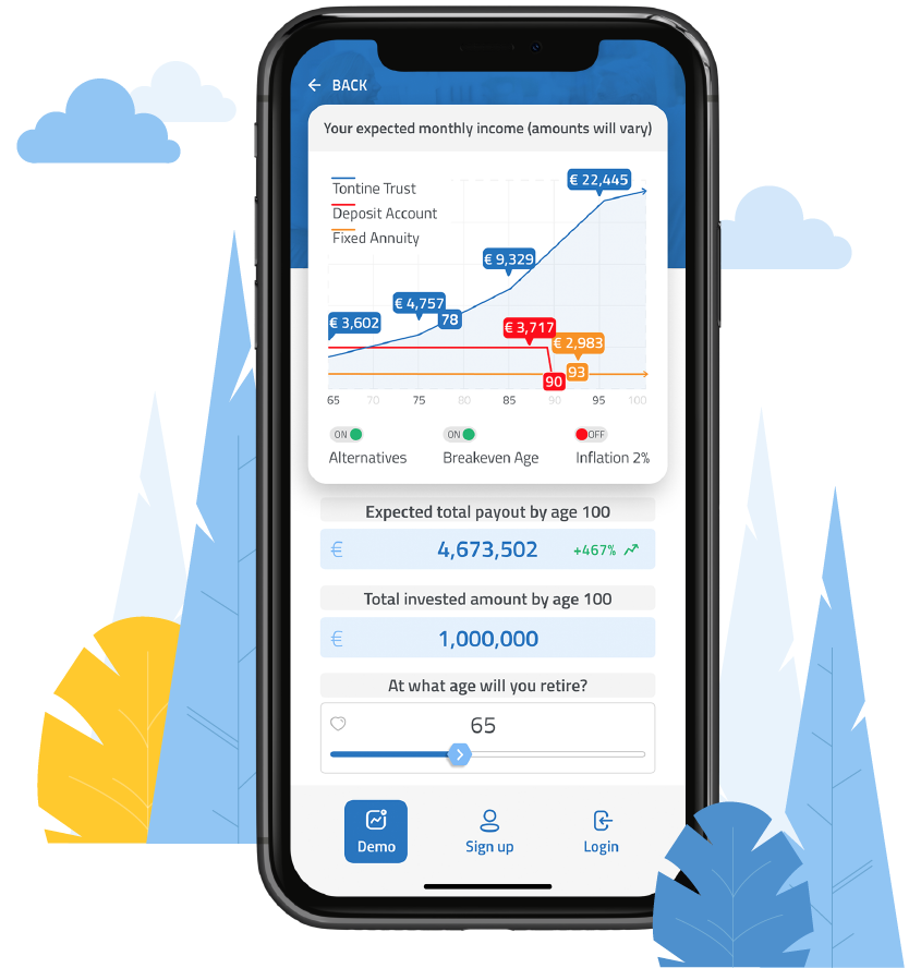MyTontine app by Tontine trust enables you to retire with growing payouts for life