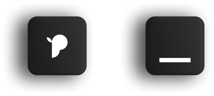 Two Icons. One is shaped like a letter P, the other is an underscore