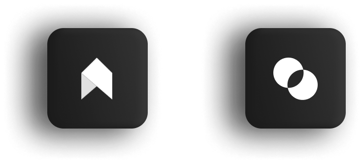 Two icons, One is an upward-pointing arrow and the other is an intersection of two circles