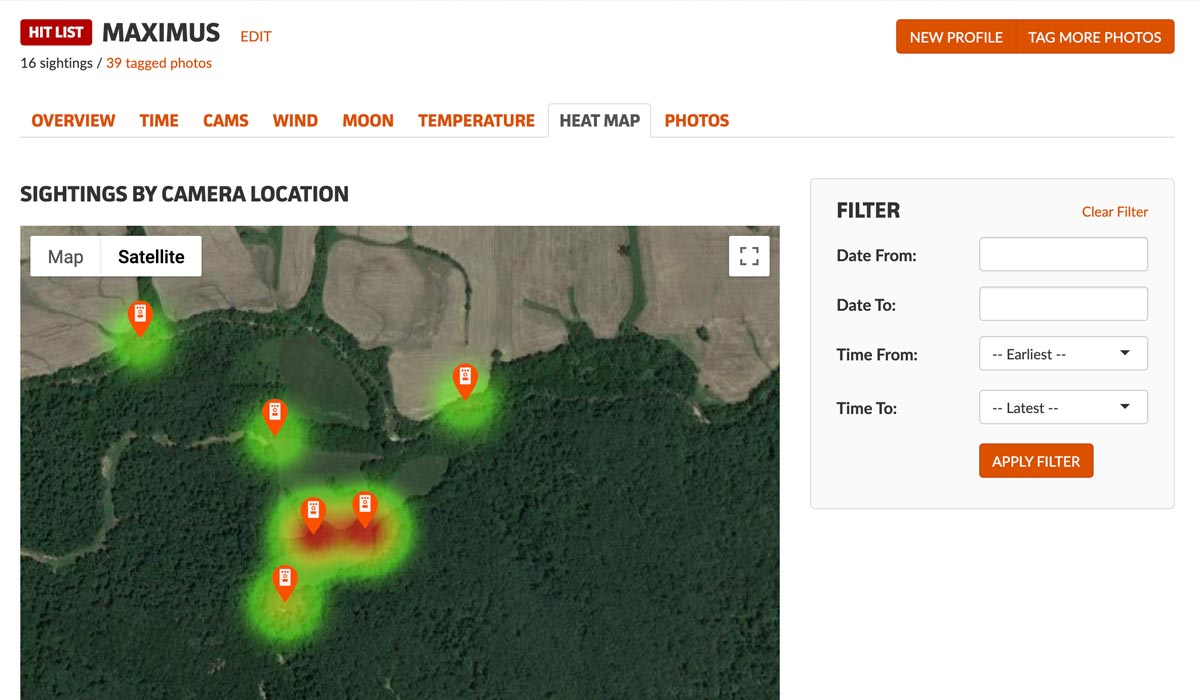 Heat map visually shows where deer are most active
