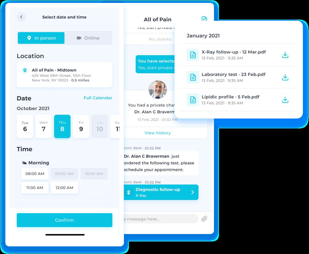 Patient App screenshots