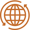 Orange graphic of a globe with encircled by two arrows.