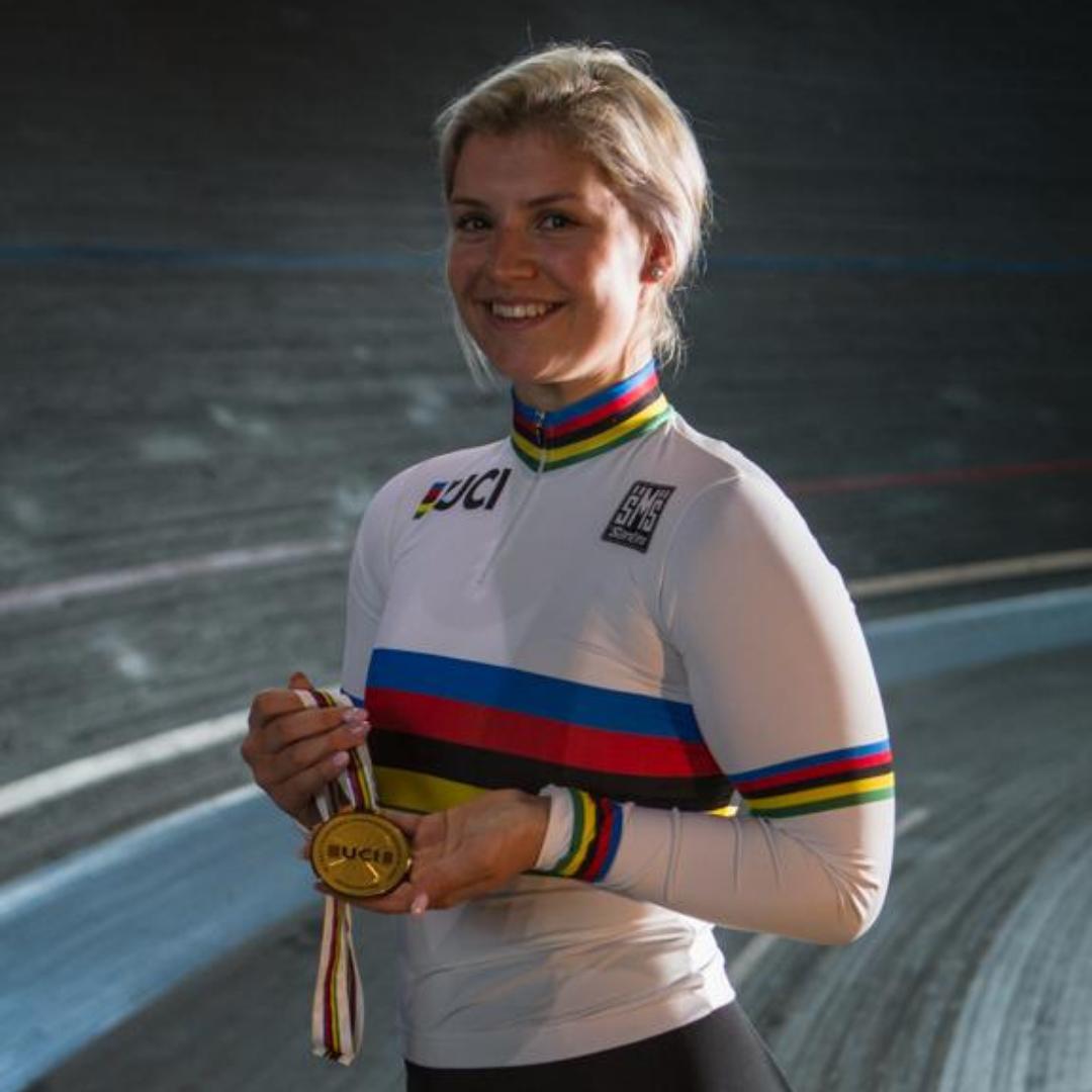 Nicky Degrendele toen ze wereldkampioen Keirin was in 2018