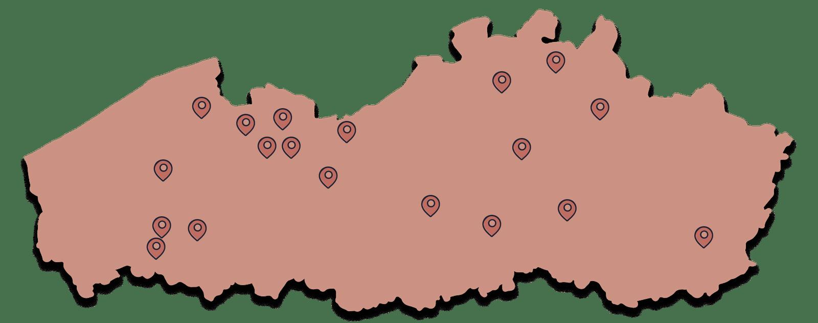 Kaart vrouwenclubs België