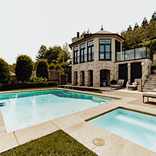 Custom pool and patio by LA Construction, an East Tennessee custom home builder.