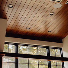 Custom wooden ceiling treatment by LA Construction, an East Tennessee custom home builder.