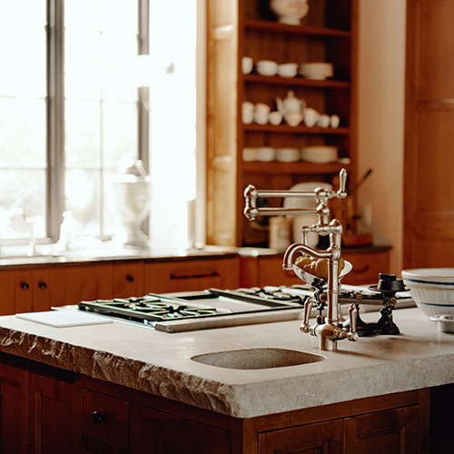 Custom kitchen counter by LA Construction, an East Tennessee custom home builder.