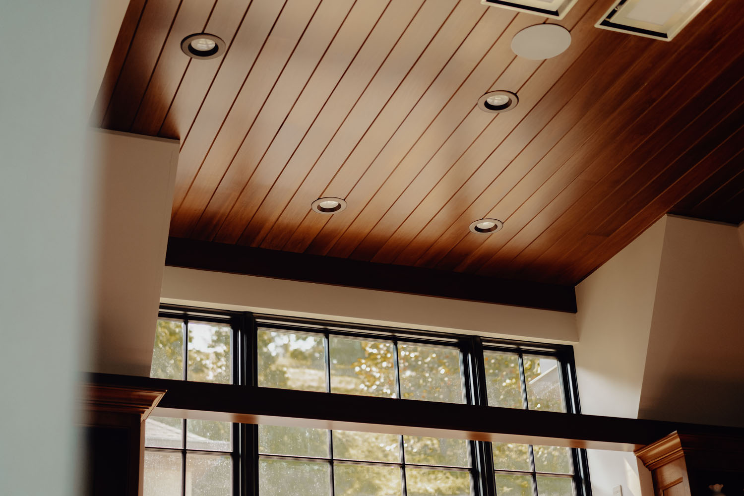 Custom-built wood ceiling by LA Construction custom home builders in East Tennessee.