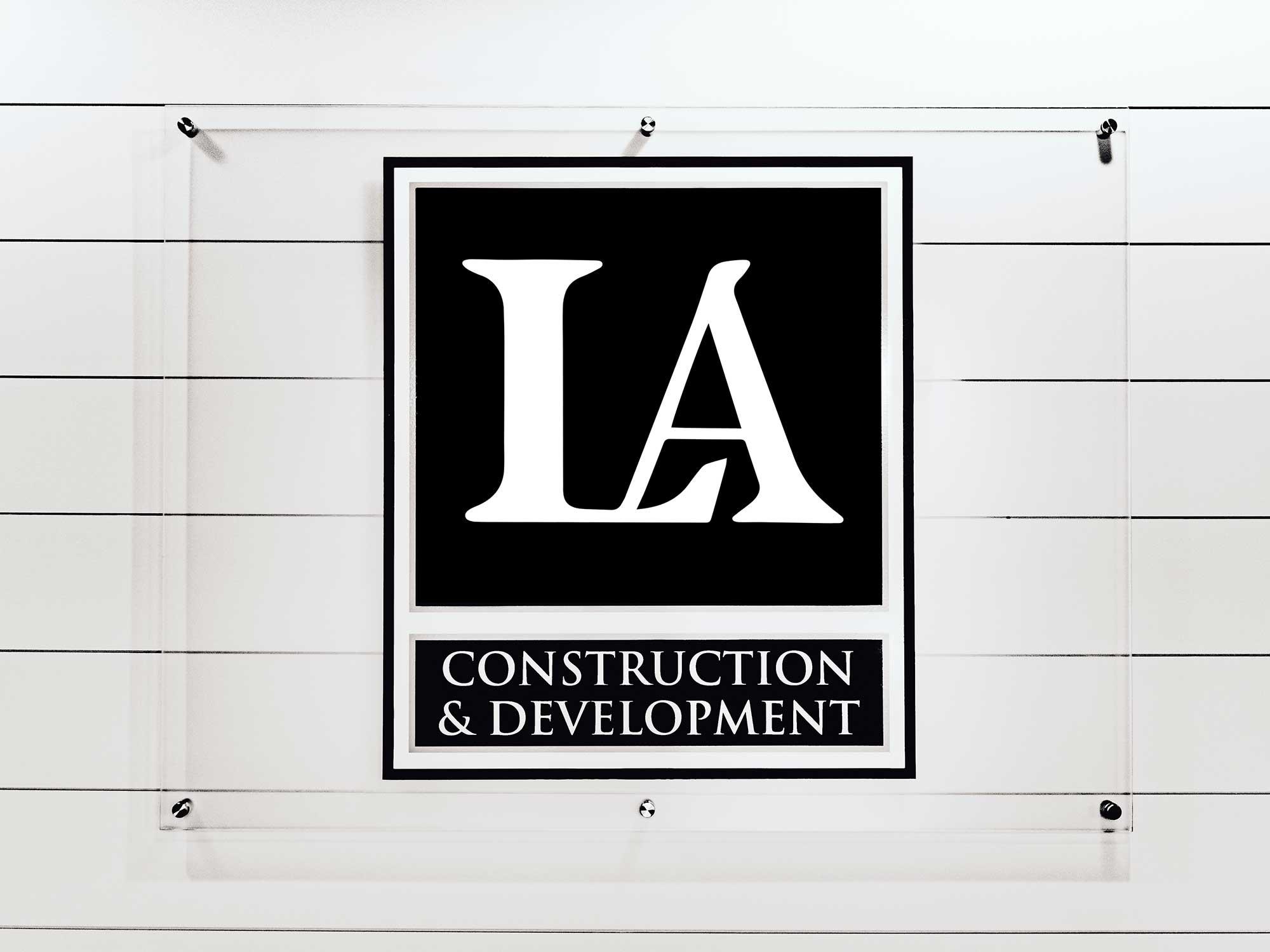 LA Construction office sign.