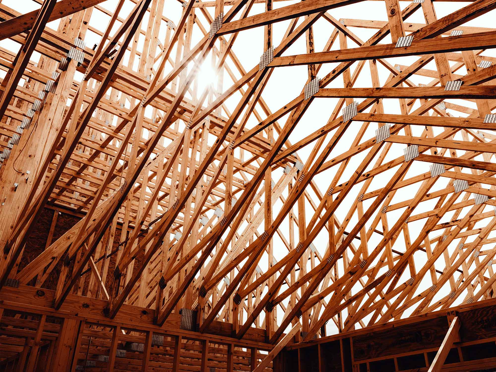 Ceiling rafters of new custom home by LA Construction.