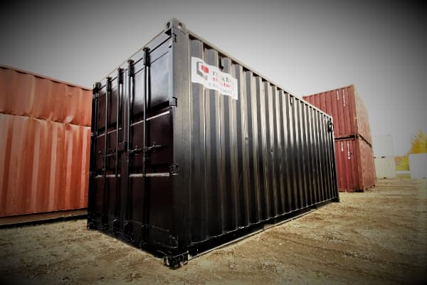 front view of a black 20ft shipping container