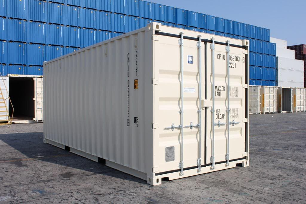 front view of a 20ft white shipping container