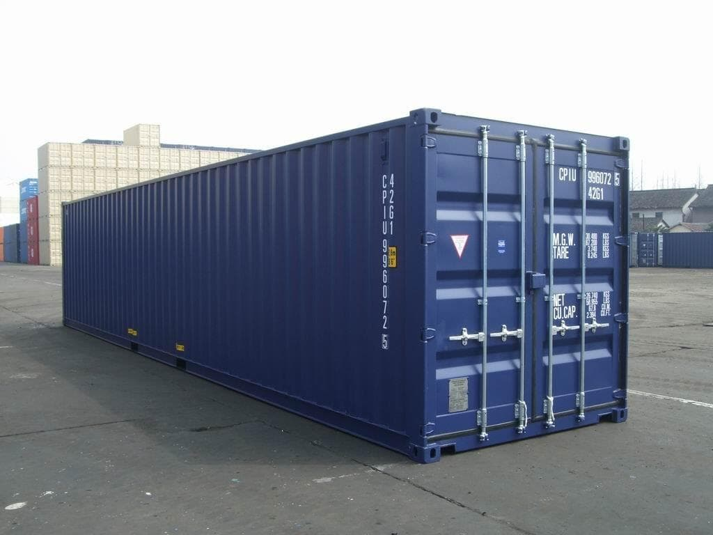 side view of a 40ft blue shipping container