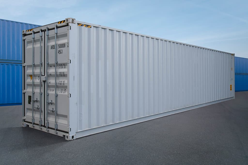side view of a 40ft white shipping container