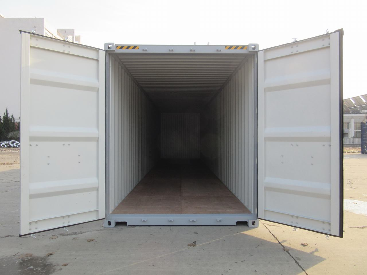 front view of a shipping container with the doors open