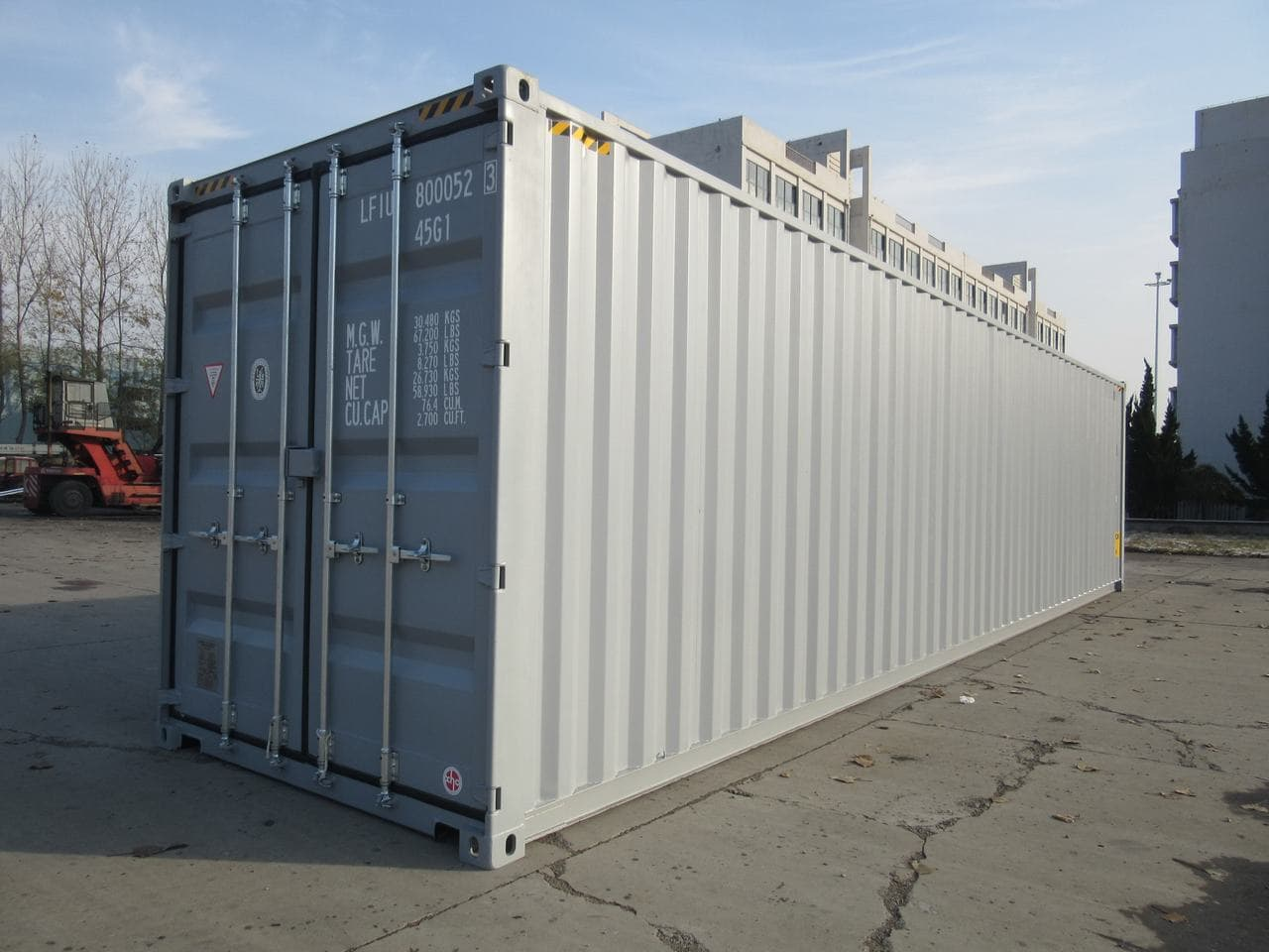 front view of a shipping container