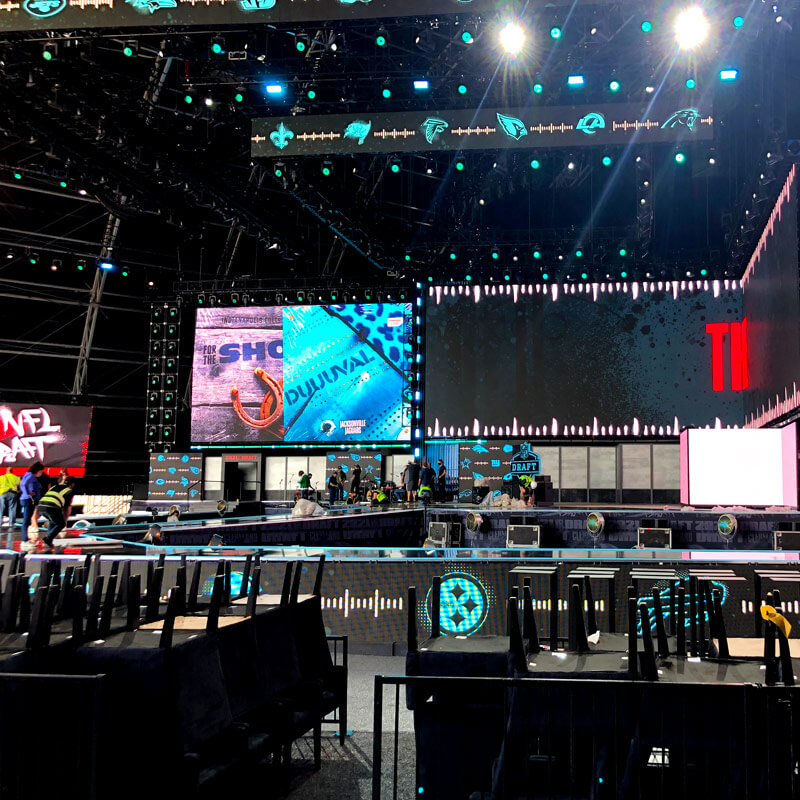 Large indoor sports conference/event with lights, screens, and power needs.